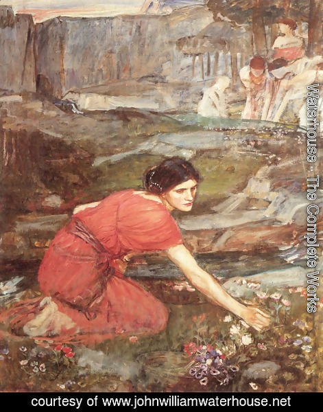 Waterhouse - Maidens picking Flowers by a Stream [Study]