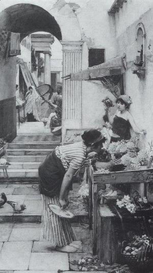Waterhouse - A Flower Market, Old Rome 1886