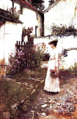 Gathering Summer Flowers in a Devonshire Garden  1893-1910
