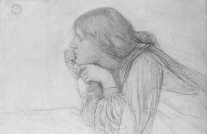 Waterhouse - Study of a Female Figure with Rosary  1890