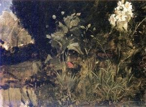 Waterhouse - Study of Lilies, Poppies and Carnations  1916