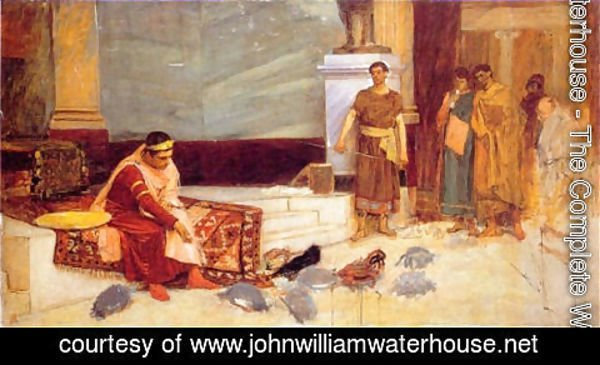 Waterhouse - The Favourites of the Emperor Honorius study  1883