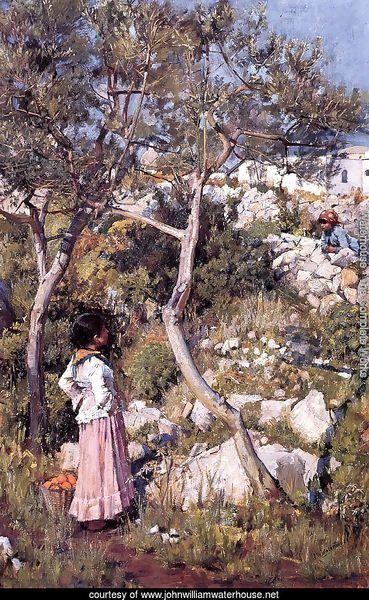 Two Little Italian Girls by a Village 1875