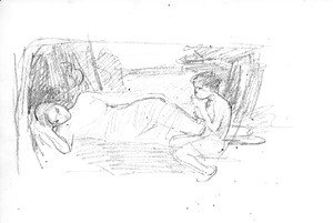 Waterhouse - Sketches including a study for 'Narcissus'